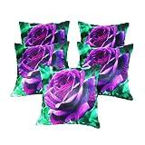 Zikrak Exim Digital Purple Rose Print Cushion Cover 5 Pcs Set 40 X 40 Cm