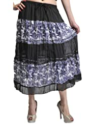 Exotic India Black Midi-Skirt With Printed Palm Trees And Embroidered Se - Black