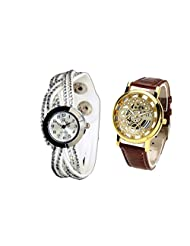 COSMIC COUPLE WATCH- WHITE WITH SILVER DIAL ANALOG DESIGNER WATCH FOR WOMEN AND BROWN SKELETON WATCH FOR MEN