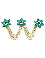 Cyan Green And White Stone Studded Metal Jewelry For Hair - Metal