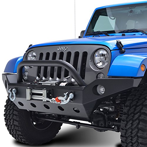 E-Autogrilles 51-0360 07-16 Jeep Wrangler JK Full Width Front Bumper With Fog Lights Hole and Winch Plate-Textured Black