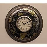 """Home And Bazaar Traditional Rajasthani Wall Clock With Iron Finish 12"""""""