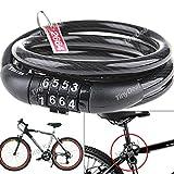 Good Quality 4 Digit Combination Steel Cable Bike Lock For Bike HUI-95170