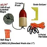 "KUFA 1/4"" Diameter X 100' Leaded Rope/(11"" Red/White Float)/Harness/Clipper/Bait Bag Combo"