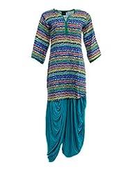 VLF Women's Cotton Side Cut Salwar Suit (VLF0076, Printed, L)
