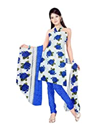 Sonal Trendz White & Blue Color Leon Printed Art Silk Dress Material.Party Wear Festive Wear.