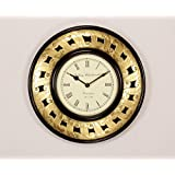 """Home And Bazaar Traditional Rajasthani Wall Clock With Brass Finish 12"""""""