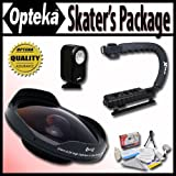Opteka Deluxe Skaters Package (Includes The OPT-SC37FE Platinum Series 0.3X HD Ultra Fisheye Lens X-GRIP Camcorder... - B00653JIMW