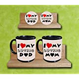 Gift For Parents Day_ I Love My Loving Mom & Dad_Set Of Wooden Coasters & Coffee Mugs