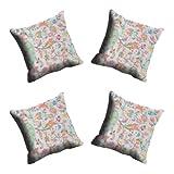 MeSleep Digitally Printed Abstract Micro Fabric 4 Piece Cushion Cover Set - Blue (CDEK-11-4)