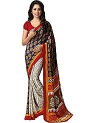 AG Lifestyle Women's Silk Saree(SD120, Off White & Brown)