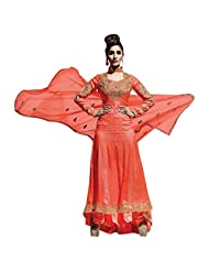 Bright Orange Georgette Designer Party Wear Suit Semi Stitched