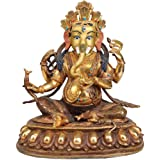 Lord Ganesha Holding A Radish - Copper Statue Gilded With 24 Karat Gold