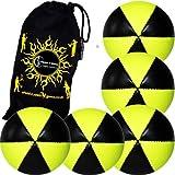 Flames N Games Astrix Uv Thud Juggling Balls Set Of 5 (Black/Yellow) Pro 6 Panel Leather Juggling Ball Set & Travel...