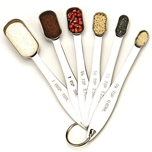 Heavy Duty Stainless Steel Metal Measuring Spoons, Set Of 6 For Dry Or Liquid, Fits In Spice Jar