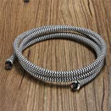 Generic 1M Vintage Colorful Twist Braided Fabric Cable Wire Electric Pendant Light Accessory-black And White