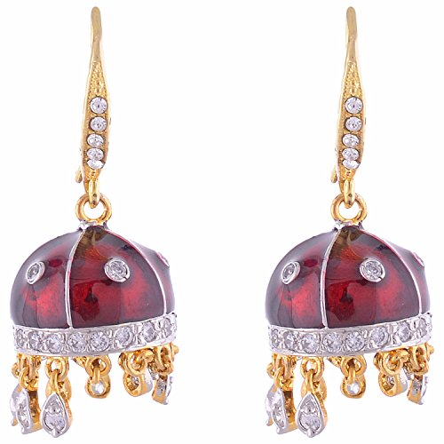 3a98253ec Alkaaz Creations Beautiful American Diamond Jhumkas With Menna Kari Work In  Red; An Exclusive Designer