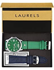Laurels Dexter Large Green Dial Date Display Men's Watch With Additional Strap (Lo-Dxtr-040407)