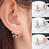 Fashion Gold Plated Leaf Crystal Ear Jacket Double Sided Swing Stud Earrings Gift By Henrigy