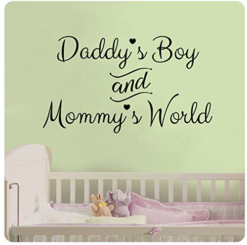"""24"""" Daddy's Boy and Mommy's World Wall Decal Sticker Art Mural Home Décor Quote Baby Nursery"""