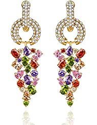 18K Gold Plated Top Quality AAA Swiss Cubic Zirconia Earrings By Via Mazzini (ER0721)