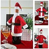 Generic Christmas Decoration 2pcs/set Wine Bottle Set Of Christmas Santa Claus' S Cloth With Christmas Cap - KC017