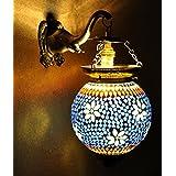 Ethnic Handmade Hand Panited Work Design Mosaic Wall Lamp 13 X 9 Inches