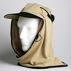 日焼け防止・UVカットする帽子、紫外線保護指数UPF50+【フリルネックU.T.E.】(サンド)