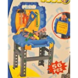 Kids Toy Bench Tool Set Pretend Play With Stand Stool 56 Pcs In Carry On Toolbox