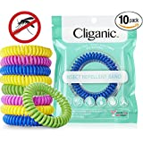 Cliganic Natural Mosquito Repellent Bracelet Waterproof   10 Pack   Bug & Insect Protection For Up To 250HRS,...