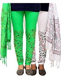 Fashion And Freedom Women's White And Green Cotton Legging Dupatta Set