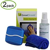 GreatShield (2 Pack) LCD LED Screen Cleaning Kit With Microfiber Cloth, Cleaning Brush And Non-Streak Cleaner...