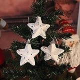 Decorative Buckets:SET OF 6 WHITE CHRISTMAS STARS :CHRISTMAS TREE DECORATION HANGING: WHITE CHRISTMAS TREE DECORATIONS...