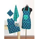 Swayam Grillz Printed Cotton 6 Piece Kitchen Linen Set - Turquoise (KS06-2008 )