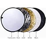 Happy Hours Multi Disc Portable 5 In 1 32 / 80cm Translucent Silver Gold White Black Collapsible Round Multi Disc Light Reflector For Studio & Any Photography Situation