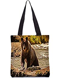 Snoogg Bear From The River Digitally Printed Utility Tote Bag Handbag Made Of Poly Canvas