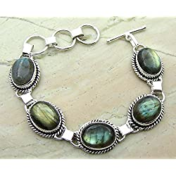 Genuine Labradorite 925 Sterling Silver Overlay Handmade Fashion Bracelet Jewelry