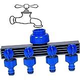 Pinolex 4-Way Water Tap Connector - Adaptor Garden Hose Shut On/Off Valve Irrigation