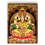 "Nish! 'Religious & Spiritual' Collection | Maa-Laxmi Art On Wood | Wall Decor Hanging Painting Indian (MDF Wood, 18""x24"", UV Cured, 1 Piece) For Living Room, Drawing Room, Temple, Mandir, Home, Gift 