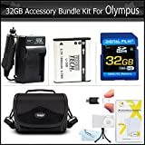 32GB Accessories Bundle Kit For Olympus XZ-1 SZ-10 SZ-20 SZ-30MR SP-800 SP-810UZ SZ-11 Camera Includes 32GB High Speed SD Memory Card + Extended (1000maH) Replacement LI-50B Battery + Ac/ Dc Charger + Case + Screen Protectors + USB 2.0 SD Reader + More