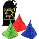 3x Tri It Juggling Balls Set Of 3 Pyramid Juggling Sacks, Bean Bags For Kids & Adults +Fabric Travel Bag. (Green...