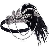 Black : BABEYOND Women's Flapper Feather Headband 1920s Headpiece Vintage Hair Accessories Crystal Headband (Black)