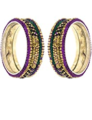 Anuradha Art Purple-Green Colour Styled With Golden Beads Bangles Set For Women