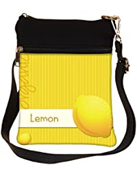 Snoogg Bright Organic Lemon Card In Vector Format Cross Body Tote Bag / Shoulder Sling Carry Bag