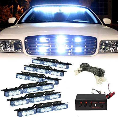 XKTTSUEERCRR 54 LED Emergency Vehicle Strobe Lights Bars Warning Deck Dash Grille White