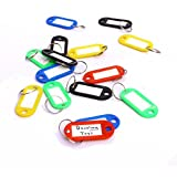 """Dazzling Toys Key Tags With Label Window, Plastic, 2"""" X 7/8"""", Assorted Colors - Pack Of 10 (D072/1)"""