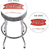 Trademark Gameroom COKE-1005-V8 Coca Cola Chrome Ribbed Bar Stool - Ice Cold