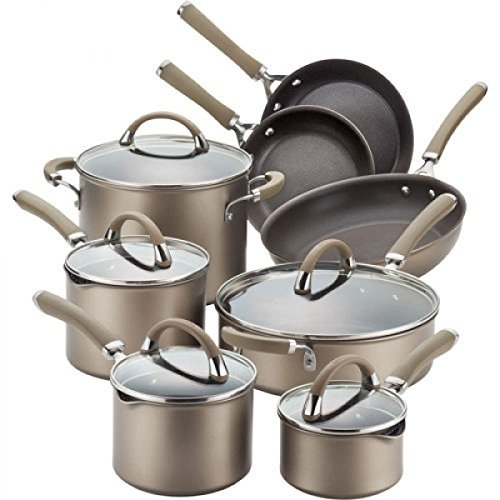 Circulon Circulon Premier Professional 13-piece Hard-anodized Cookware Set Bronze Exterior Stainless Steel...
