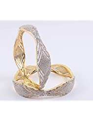Artistic Gold Plated Bangles With Magnificent CZ Stone Setting