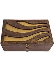 "Rectangular Brown Textured Multipurpose Box With Long Running Motifs: Home Or Utility Organiser - 10"" X 6"" X 4"""